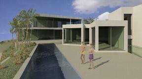 Perceel met vergunning om een ultramoderne villa te bouwen met fantastisch uitzicht op het natuurgebied in Cala Moli