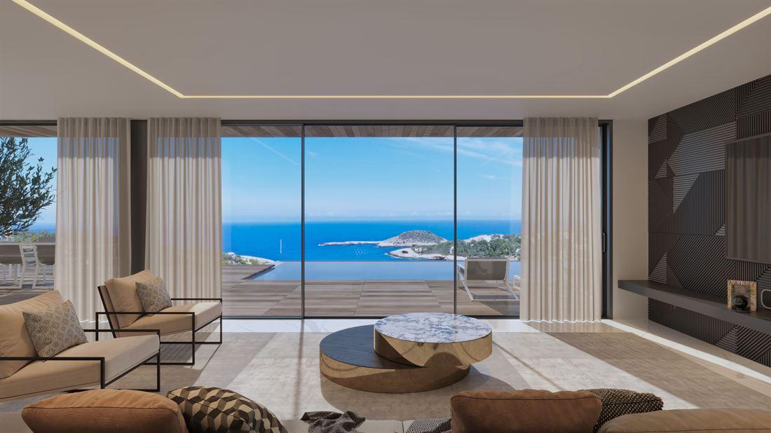 Modern gebouwd villaplan te koop met een absoluut bovenaanzicht in Portinatx